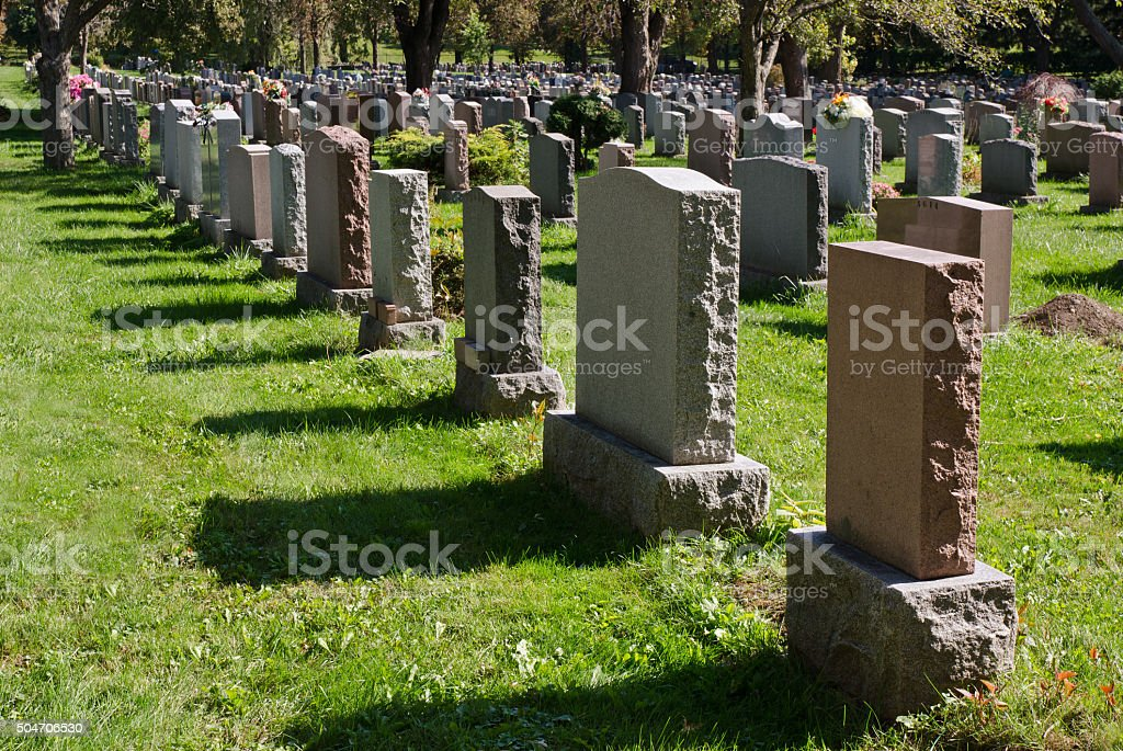 Gravestones in an american Cemetery stock photo