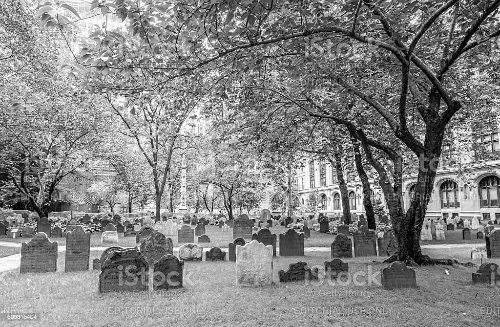 Gravestones in Trinity Church Cemetery, stock photo