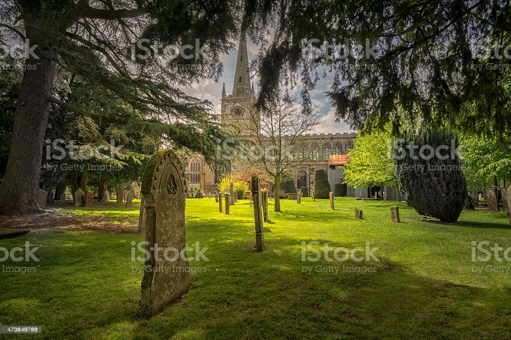 Graveyard and church in Stratford Upon Avon, England stock photo