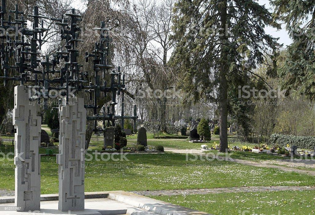 graveyard at spring time royalty-free stock photo
