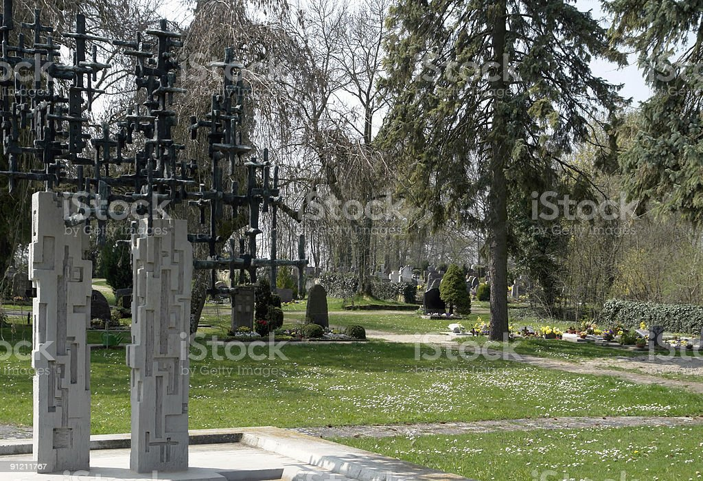 graveyard at spring time stock photo
