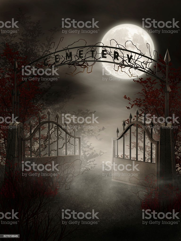 Graveyard gate with thorns stock photo