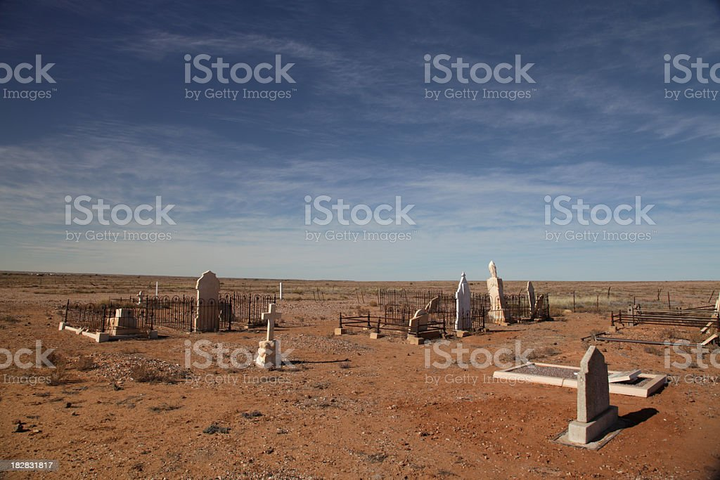 Graveyard in the desert stock photo