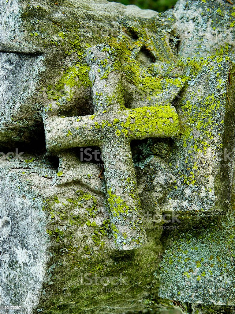 graveyard - mossy crosss stock photo