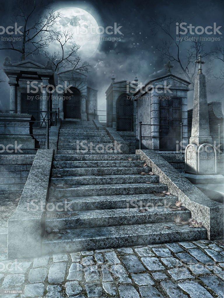 Graveyard stairs stock photo