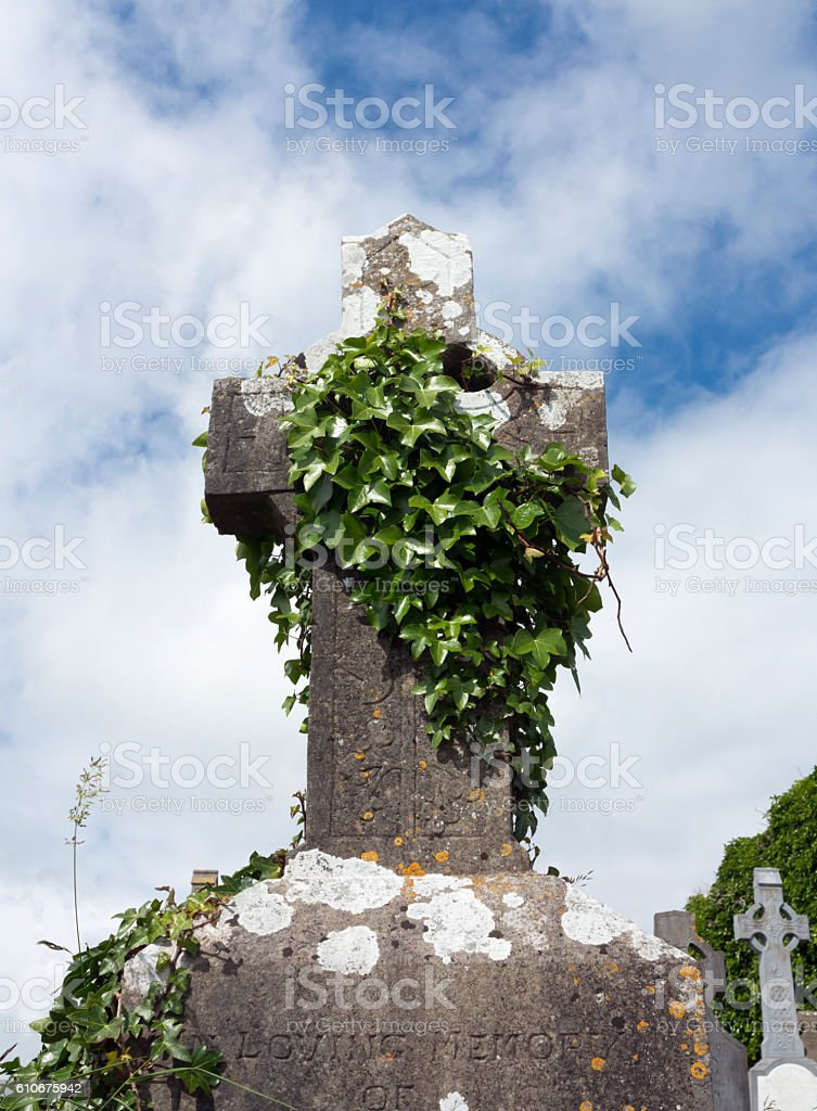 Graveyard with crucifix in Ireland stock photo