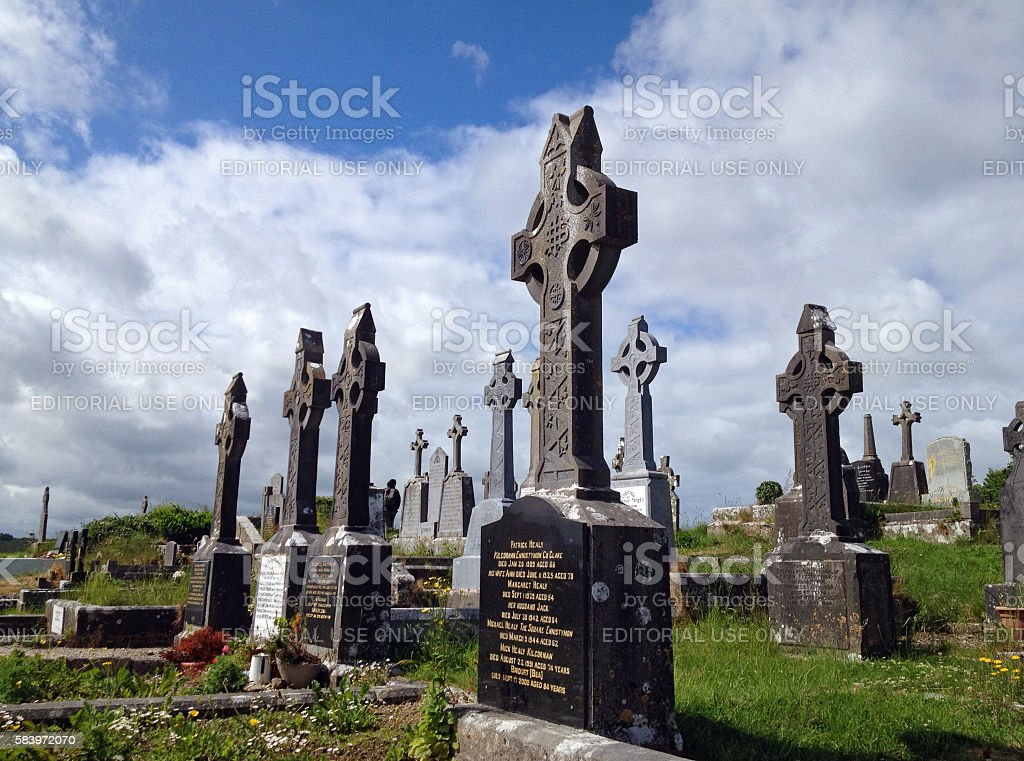 Graveyard with crucifixes in Ireland stock photo