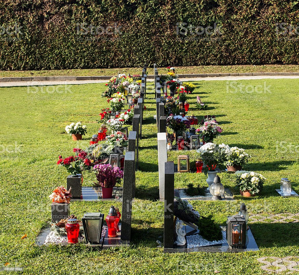 Graveyards with flowers stock photo