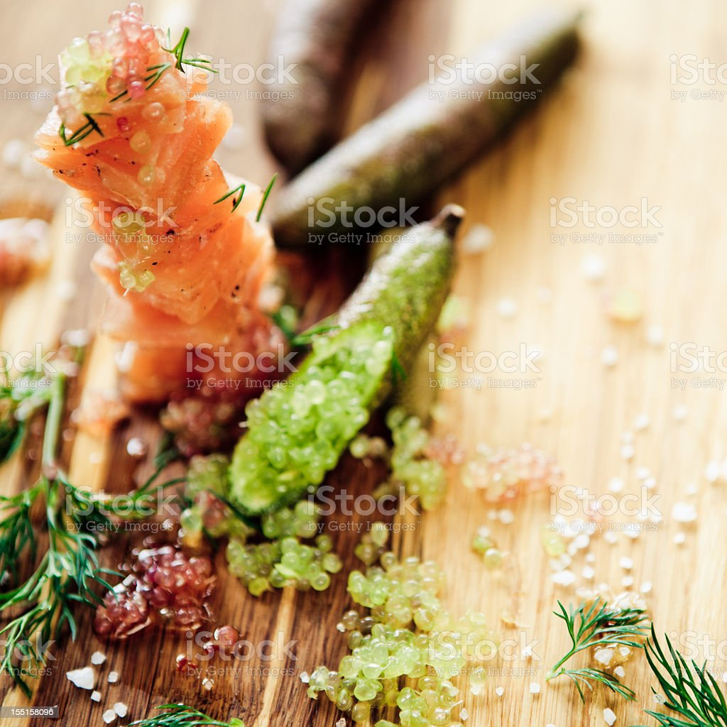 Gravlax And Lemon Caviar stock photo