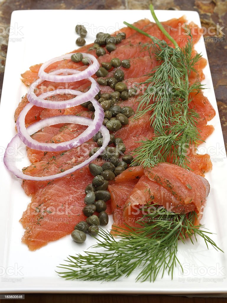 Gravlax (gravad lax, gravet laks, gravlaks) royalty-free stock photo
