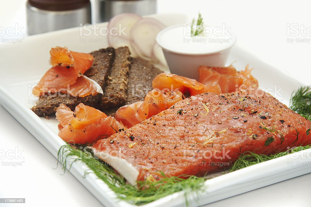 Gravlax With Pumpernickle and Sour Cream. stock photo
