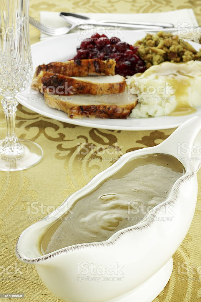 Gravy Boat and Dinner royalty-free stock photo