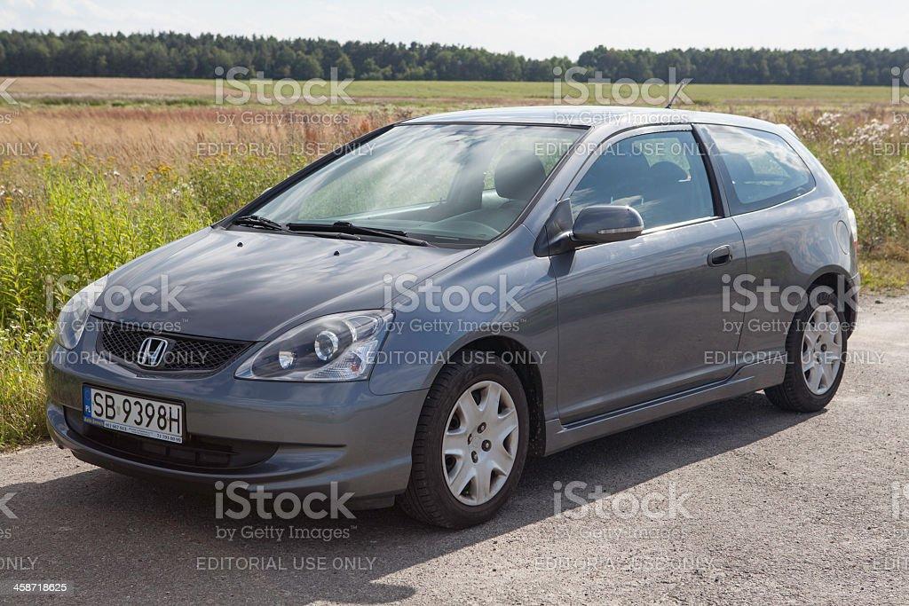 Gray 2004 Honda Civic, popular hatchback stock photo