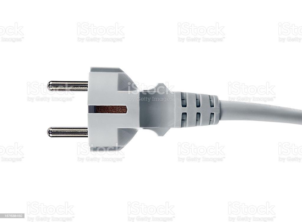 gray 220 volt european plug on white royalty-free stock photo