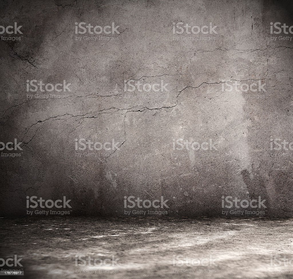 A gray and empty grunge interior stock photo