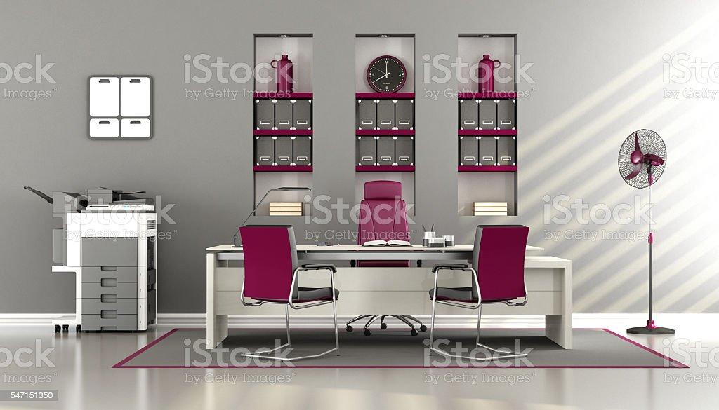 Gray and purple modern office stock photo