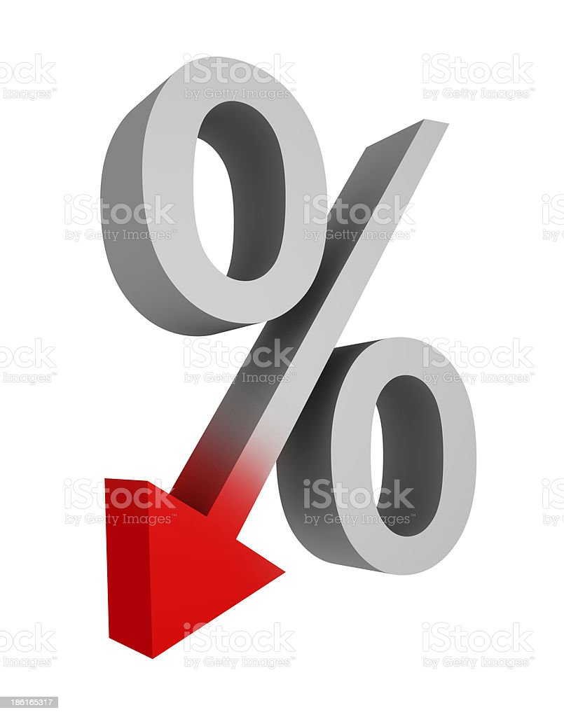 A gray and red symbol representing falling percent stock photo