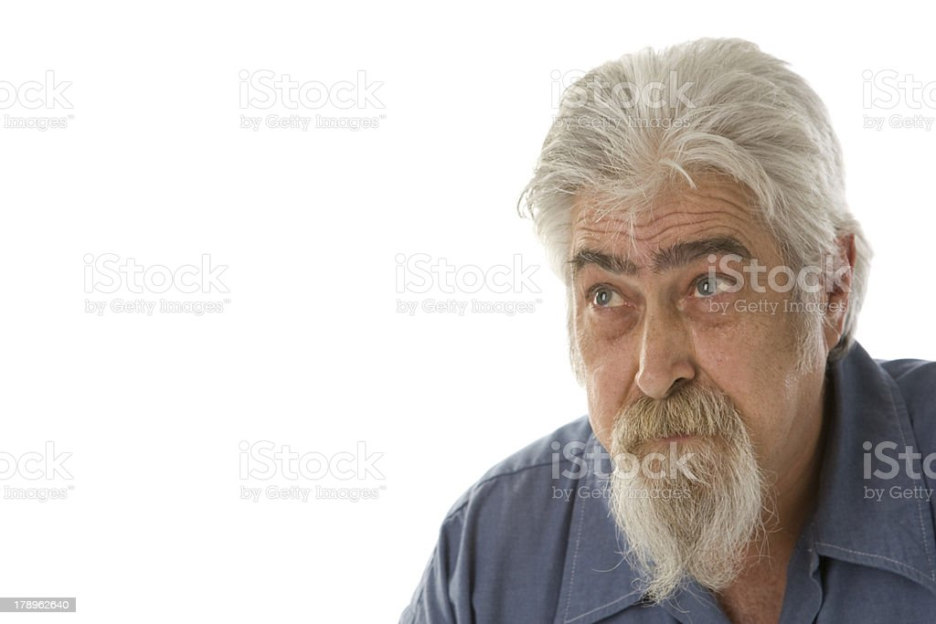 Gray Bearded Man Thinking royalty-free stock photo