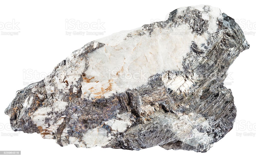 gray bismuthinite mineral and iridescent bismuth stock photo