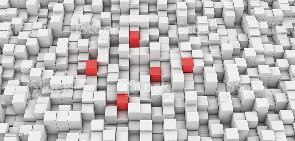 Gray Blocks Background and five Red royalty-free stock photo