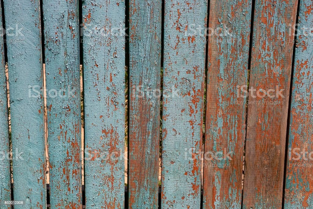 gray blue texture of old wooden boards of a rural fence stock photo
