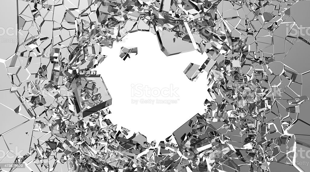Gray broken pieces of glass on white background stock photo