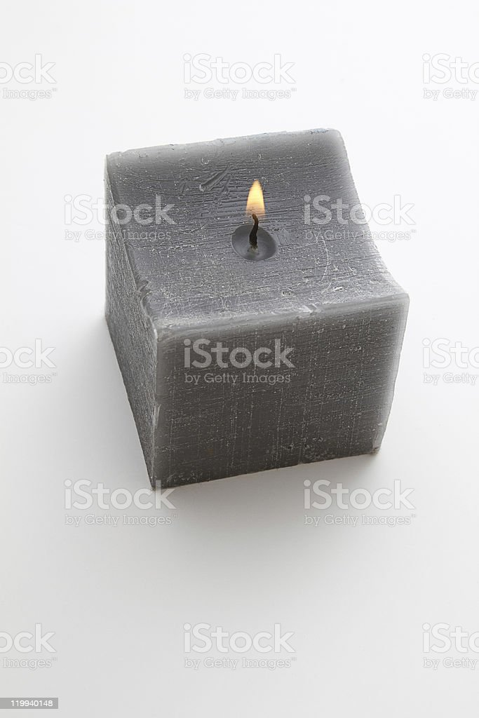 Gray candle stock photo