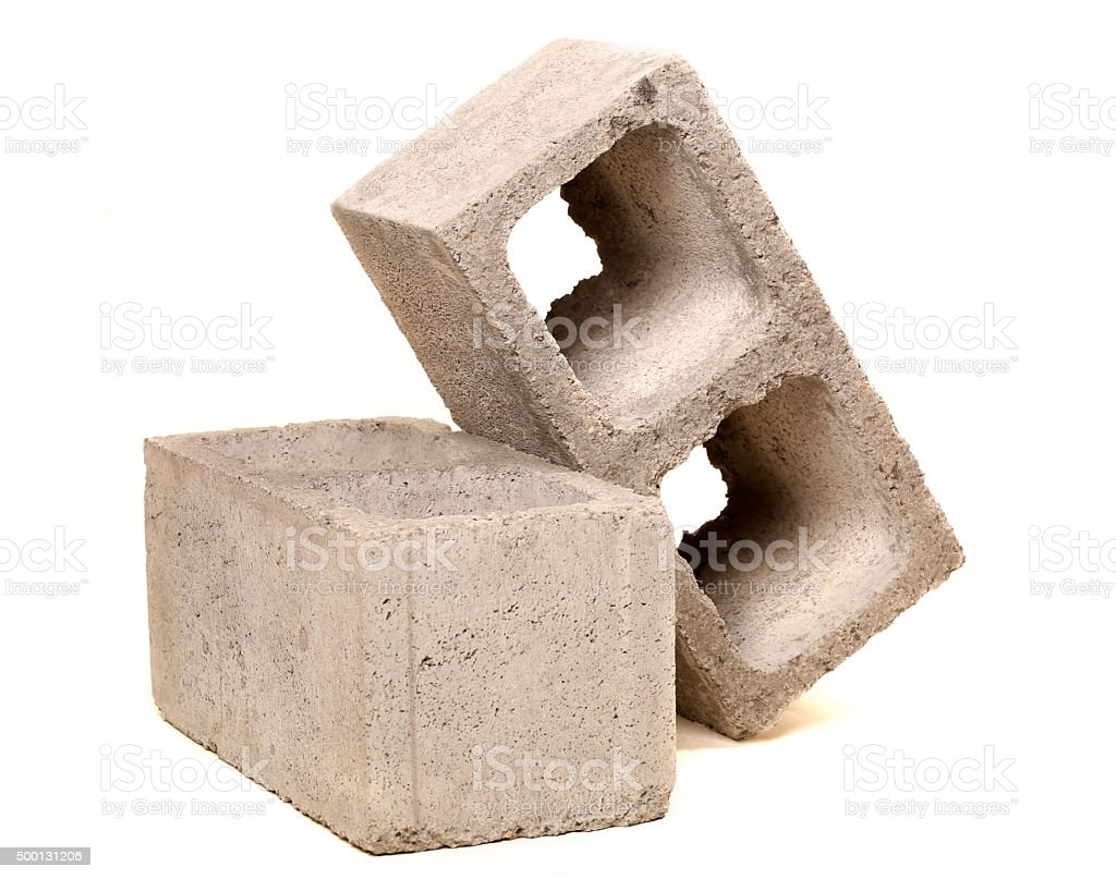 Gray Cement Cinder Block Isolated On White Background stock photo