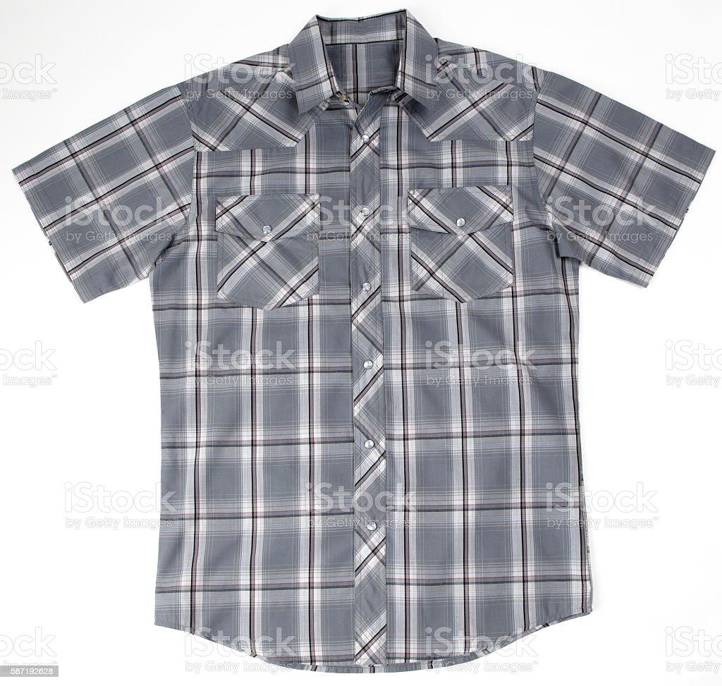 gray checkered shirt stock photo