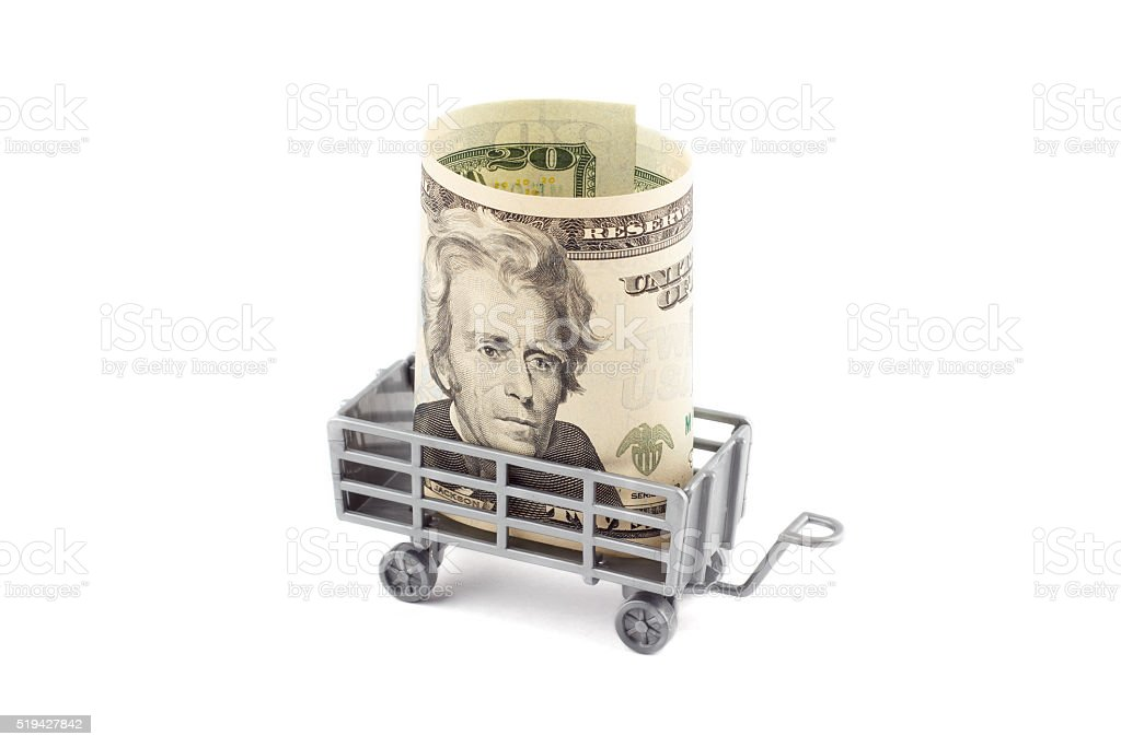 Gray children's trailer toy with dollar stock photo