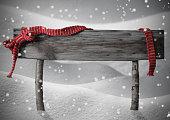 Gray Christmas Sign Copy Snow, Red Ribbon, Snowflakes