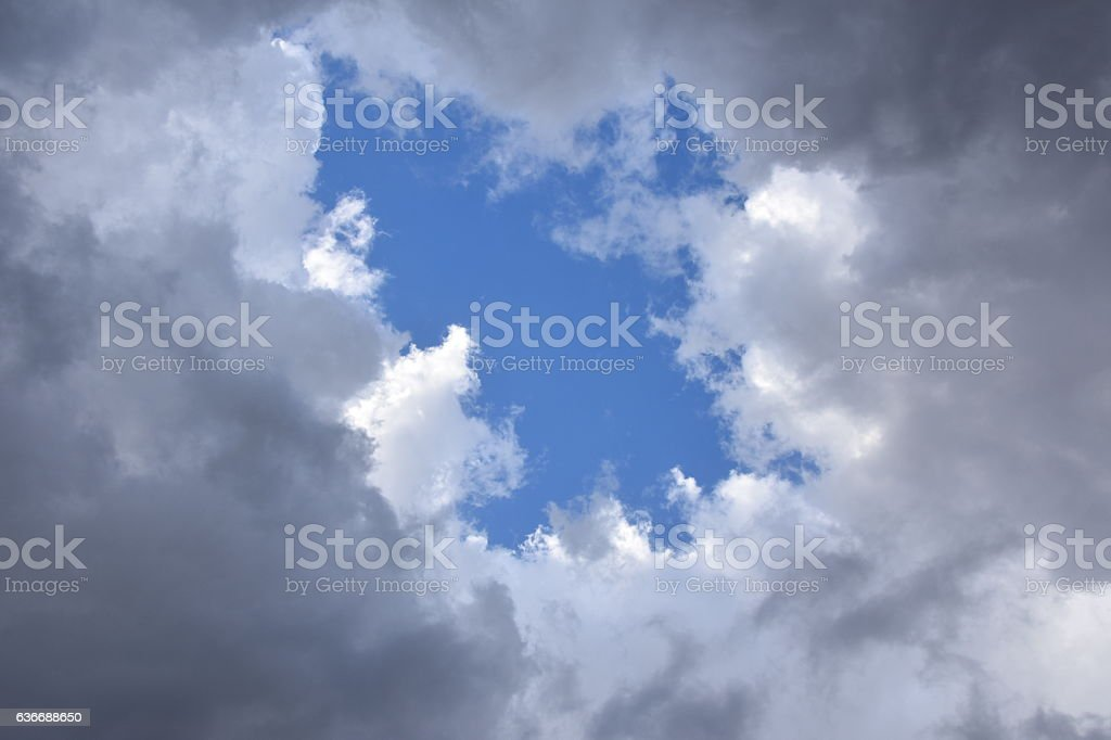 Gray clouds and white clouds stock photo