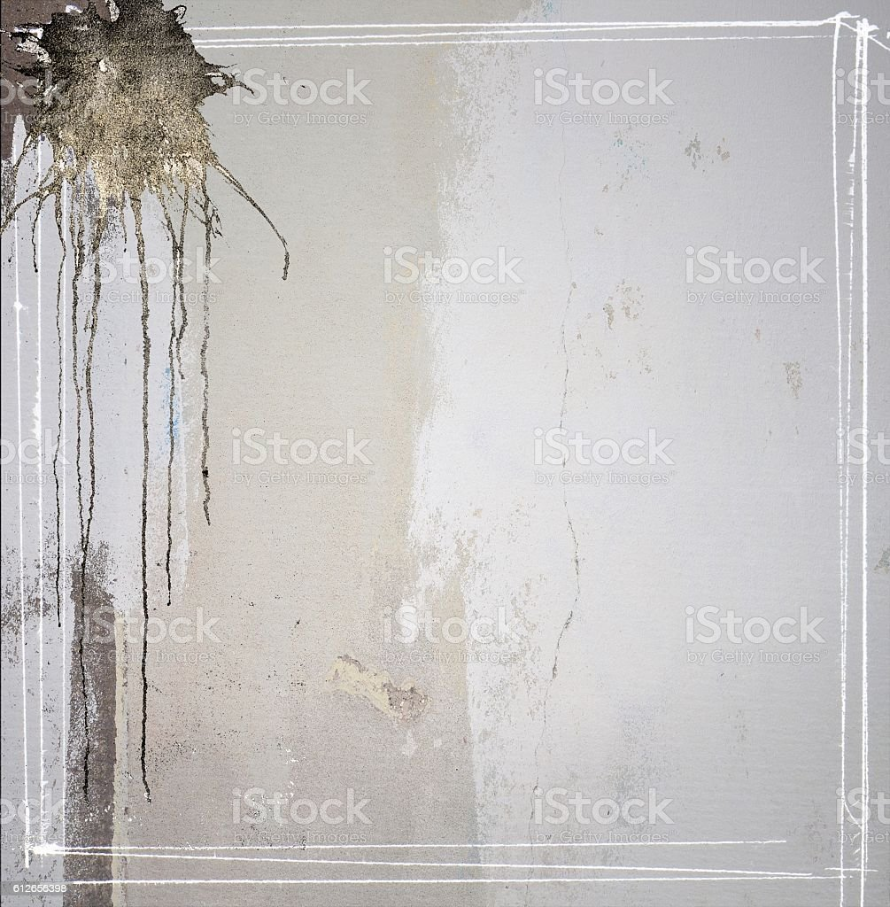 Gray concrete texture background with dripping and borders stock photo