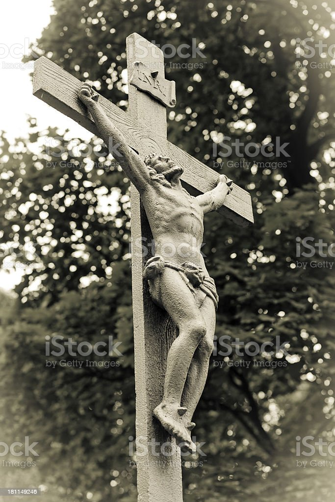 Gray crucifix royalty-free stock photo