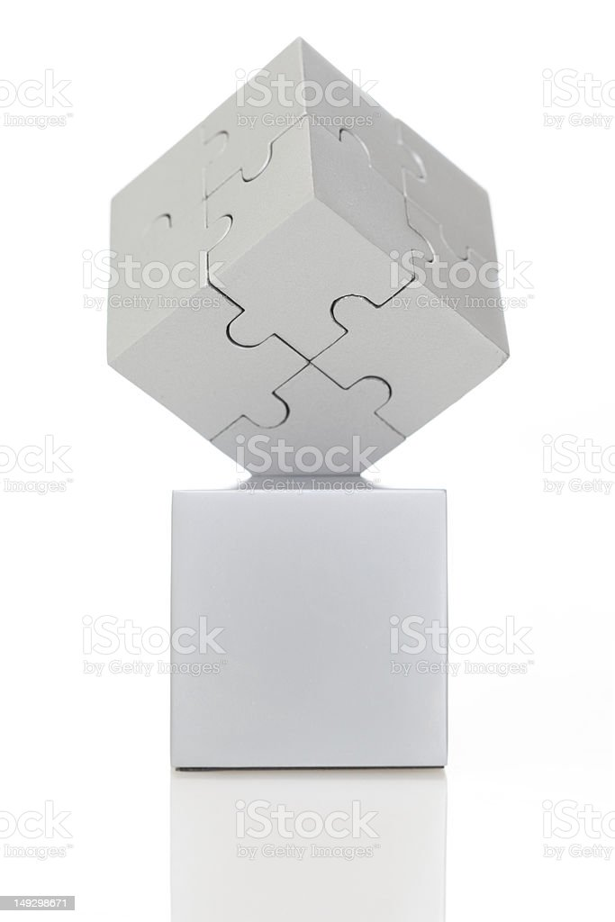 Gray cube of puzzles royalty-free stock photo