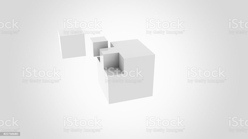 Gray cubes assembling. Construction, installation and building concepts. 3D rendering stock photo