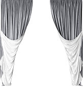 Gray curtain on a white background