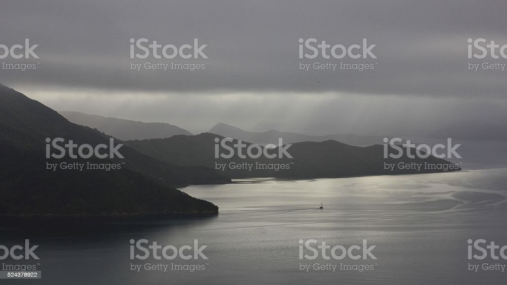Gray day in the Marlborough Sounds stock photo