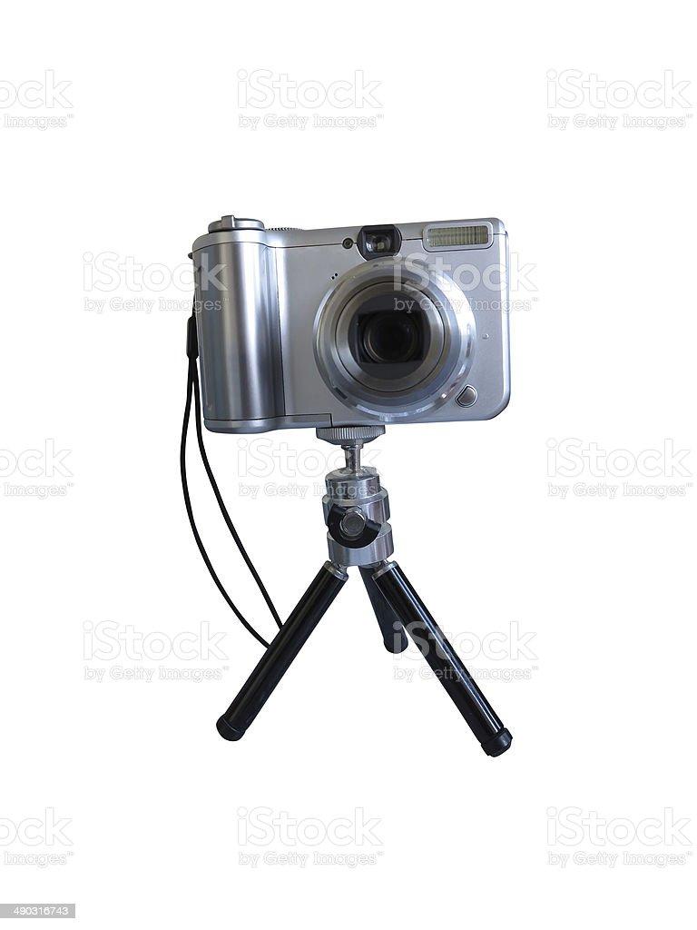 digital cinza câmara num tripé isolado sobre o branco foto de stock royalty-free