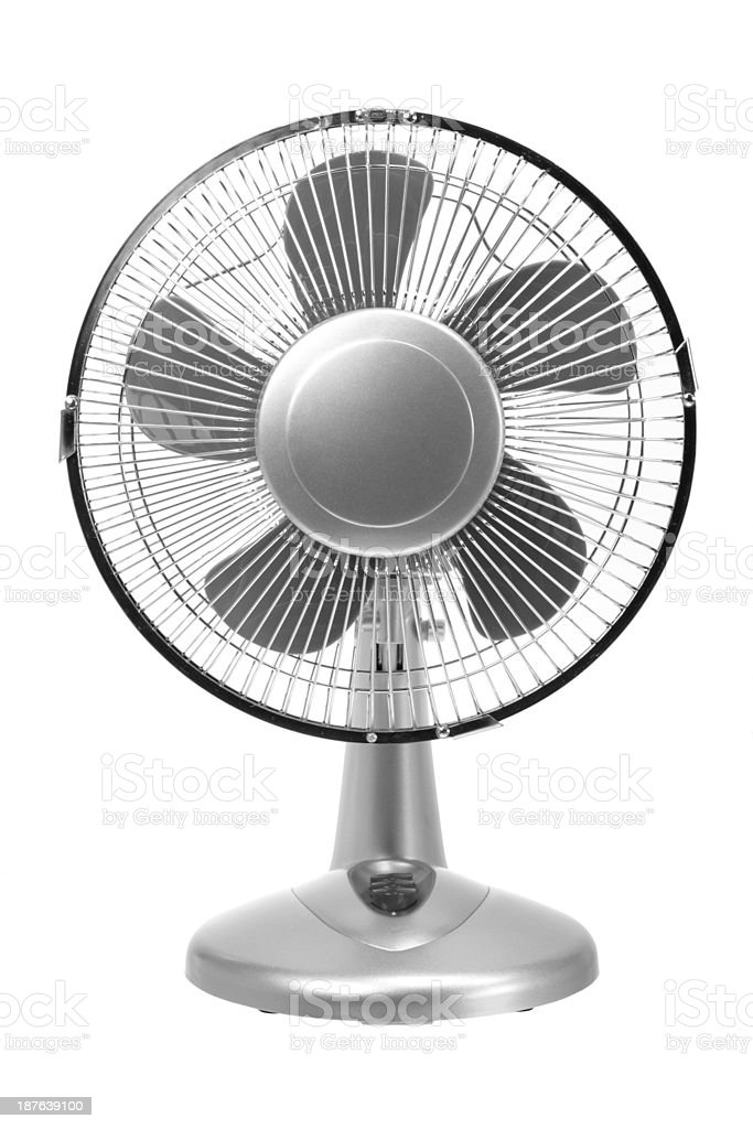 A gray electric fan on a white background stock photo