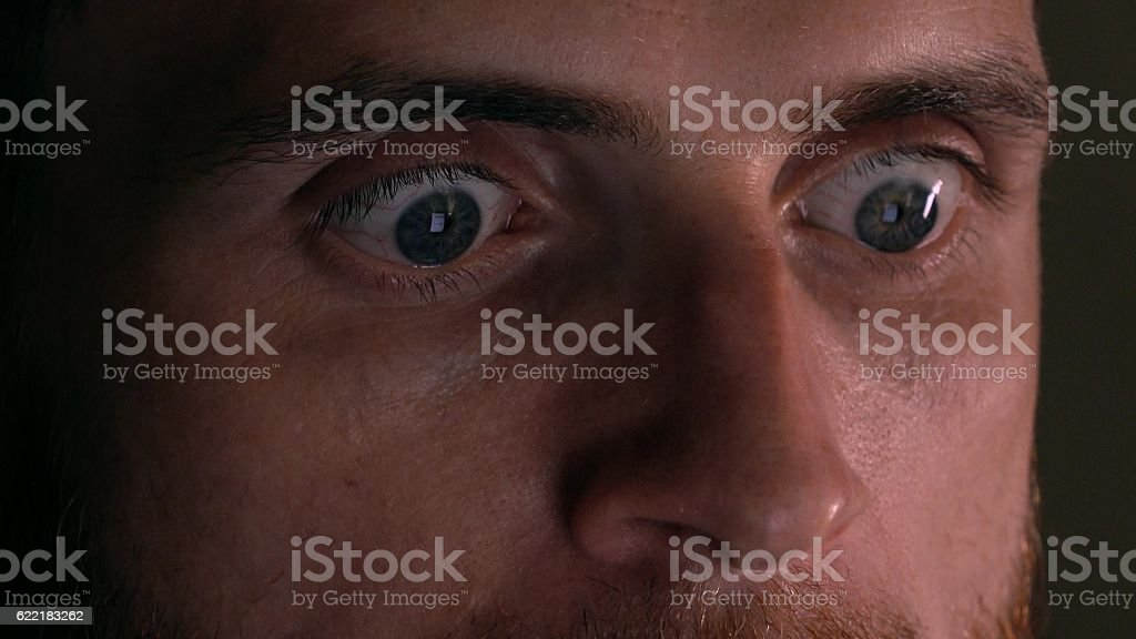 Gray eyes of surprised intelligent young man using his tablet stock photo