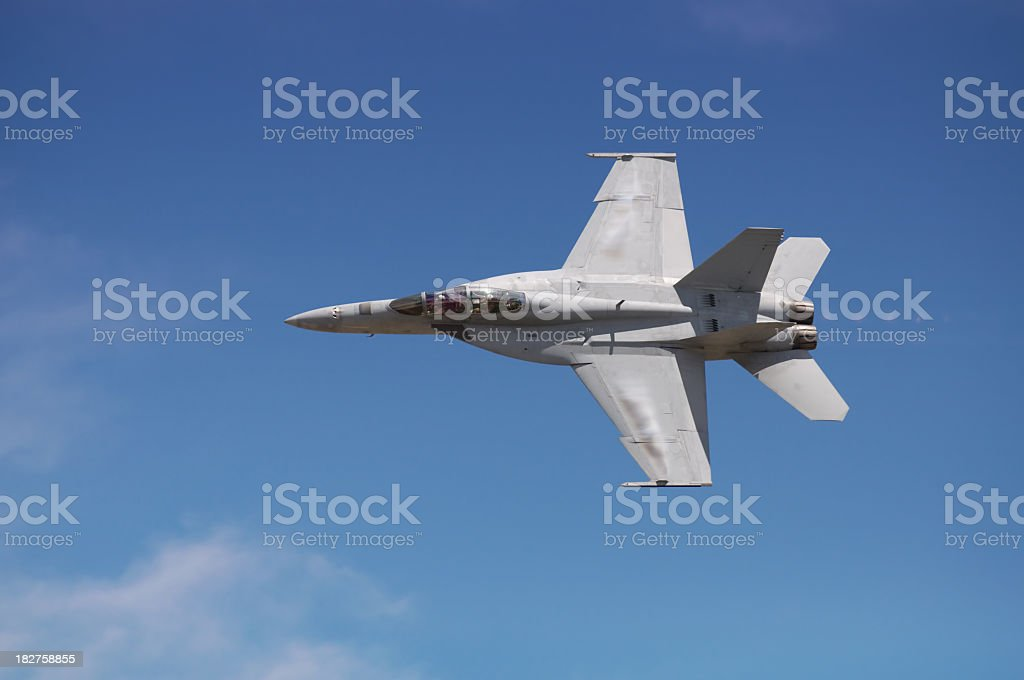 Gray F-18 fighter jet flies with a blue sky behind it royalty-free stock photo