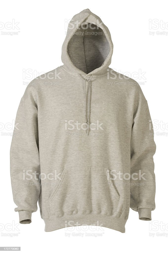 Gray hooded, blank sweatshirt front-isolated on white stock photo