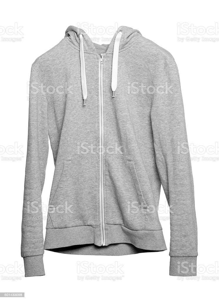 Gray hoodie on white background stock photo