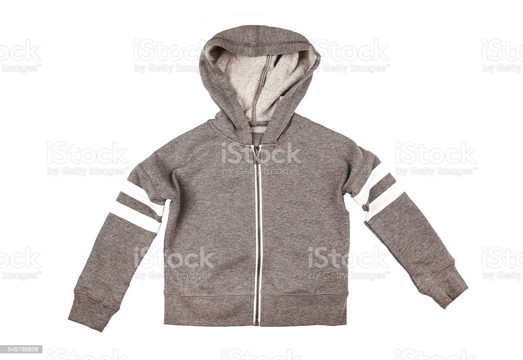 Gray hoodie sweater. Isolated on white background. stock photo