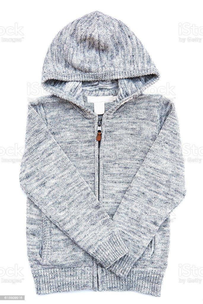Gray hoodie sweater. stock photo