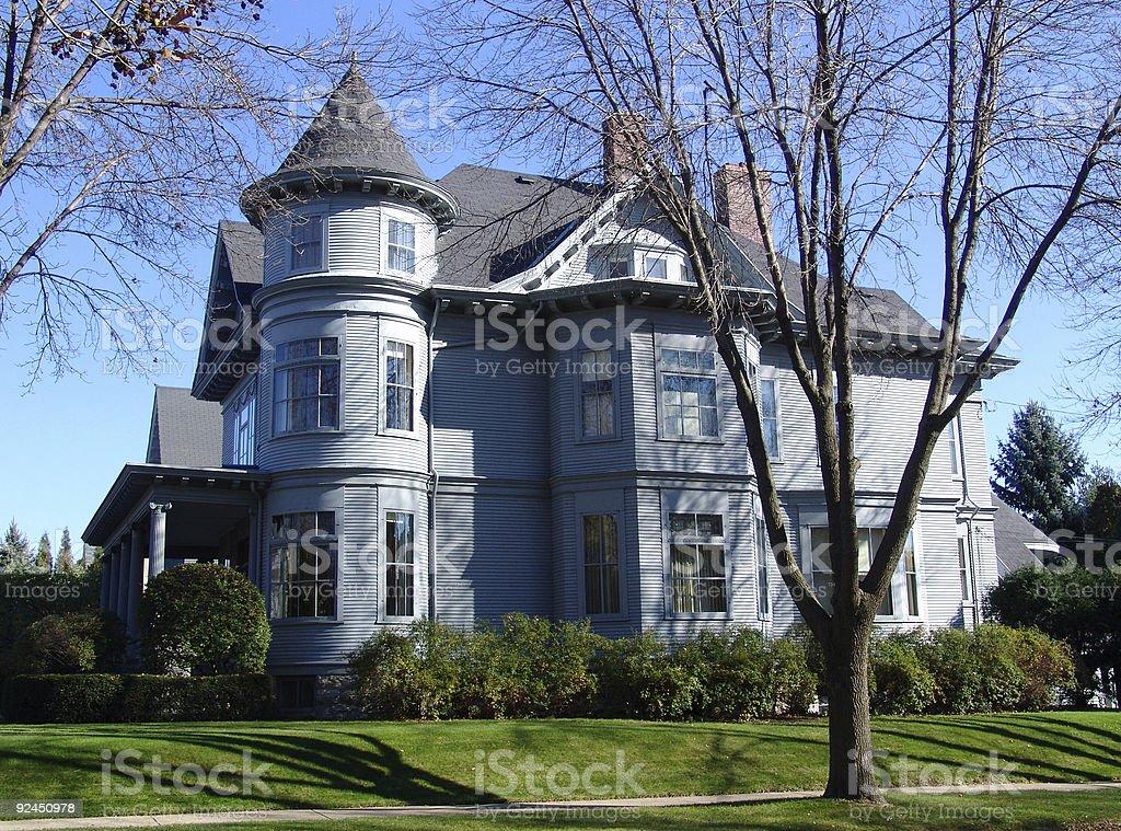 Gray House on the Corner stock photo
