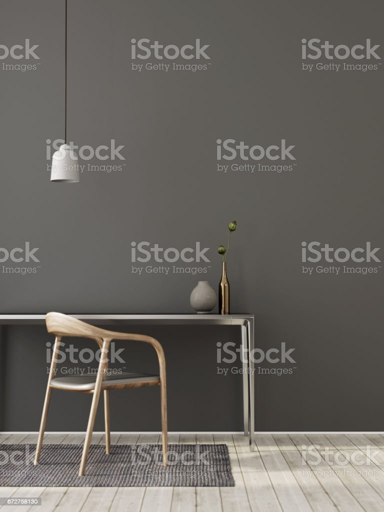 Gray interior of workplace stock photo