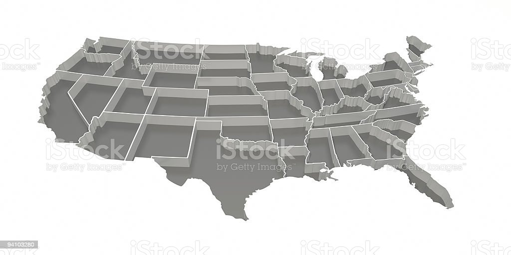 Gray Inverted United States Map stock photo