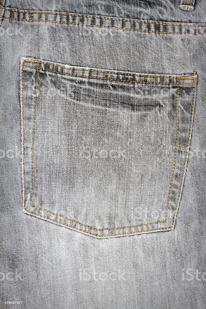 Gray jeans fabric with pocket royalty-free stock photo